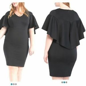Eloquii Black Ruffle Cape Sheath Dress NWT